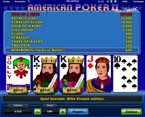American poker online spielen dss houses with no deposit