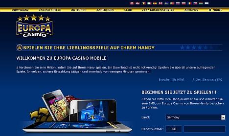 Europacasino - jetzt auch mobil spielen