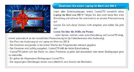 Gewinne ein Laptop im Casino770