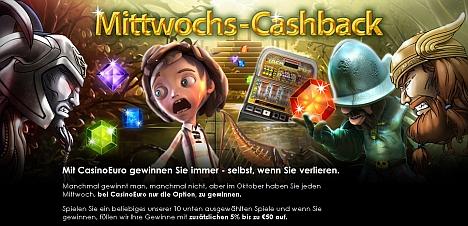Mittwochs Cashback - nur im Casino Euro