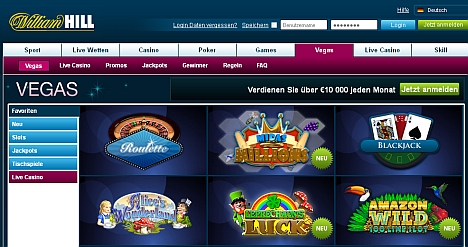 William Hill - spielen wie in Vegas